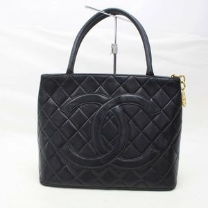 Chanel Tote Bag Quilted Medallion Tote Black Lamb
